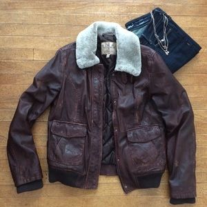 Wilson's Brown Leather Bomber with Fur Collar, M